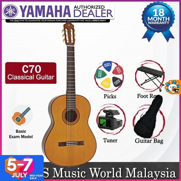 Yamaha C70 Full Size Nylon String Classical Guitar Basic Package with Bag, Foot Stool, Tuner and Picks (C 70) Malaysia