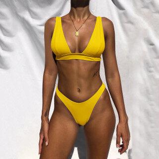[Bán Chạy] Top Showvie Bikini Cạp Cao Cho Nữ Bikini Nâng Ngực Đồ Bơi In Họa Tiết Đồ Đi Biển Nữ Đồ Bơi thumbnail