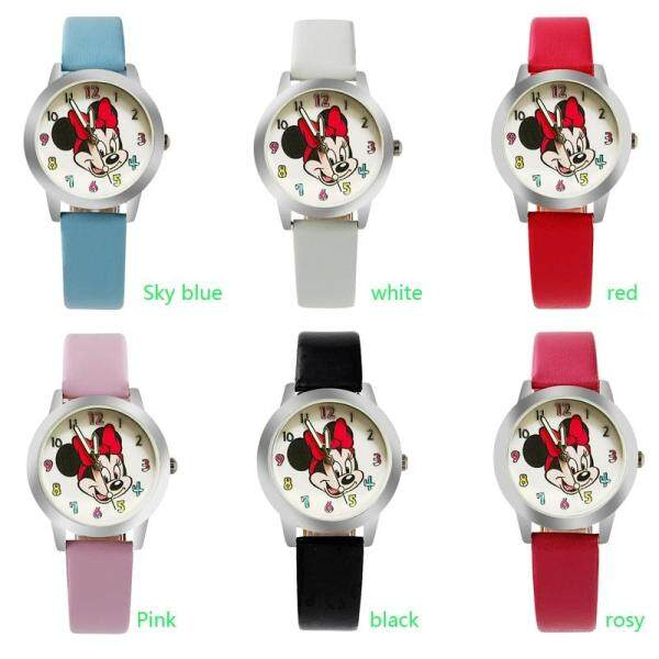 Fashion Cartoon Beautiful girl Minnie mouse style Color number dial children students girls leather quartz watch Small size Malaysia