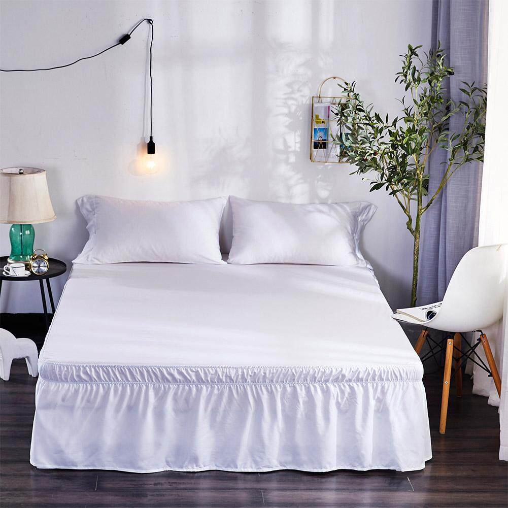 Simple Solid Color Elastic Trimmed Ruffle Bed Skirt Dimensions:150x200+40 By Tianyou Fashion.