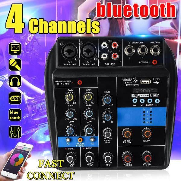 4 Kênh Xách Tay USB Mixer Bluetooth Nhà KTV Phòng Thu Trực Tiếp Âm Thanh Bàn Điều Khiển Phối Khí-