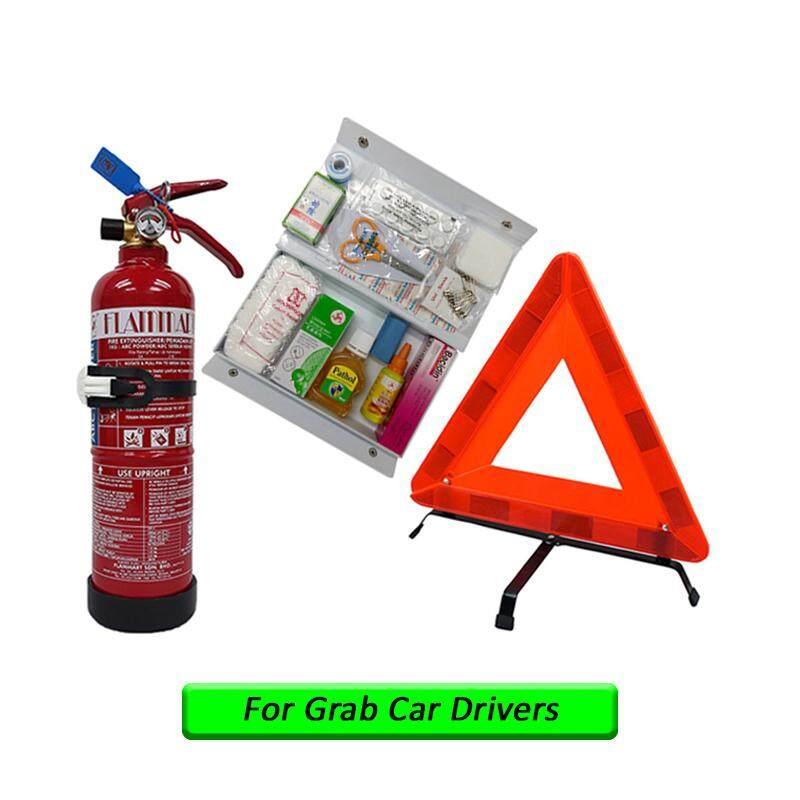 EzSpace 1Kg Fire Extinguisher Flammart ABC Dry Powder Sirim Puspakom Ready Year 2019 & First Aid Kit & Safety Triangle For Vehicle Grab Car Taxi Drivers Pemadam Api Set Untuk Kereta Grab