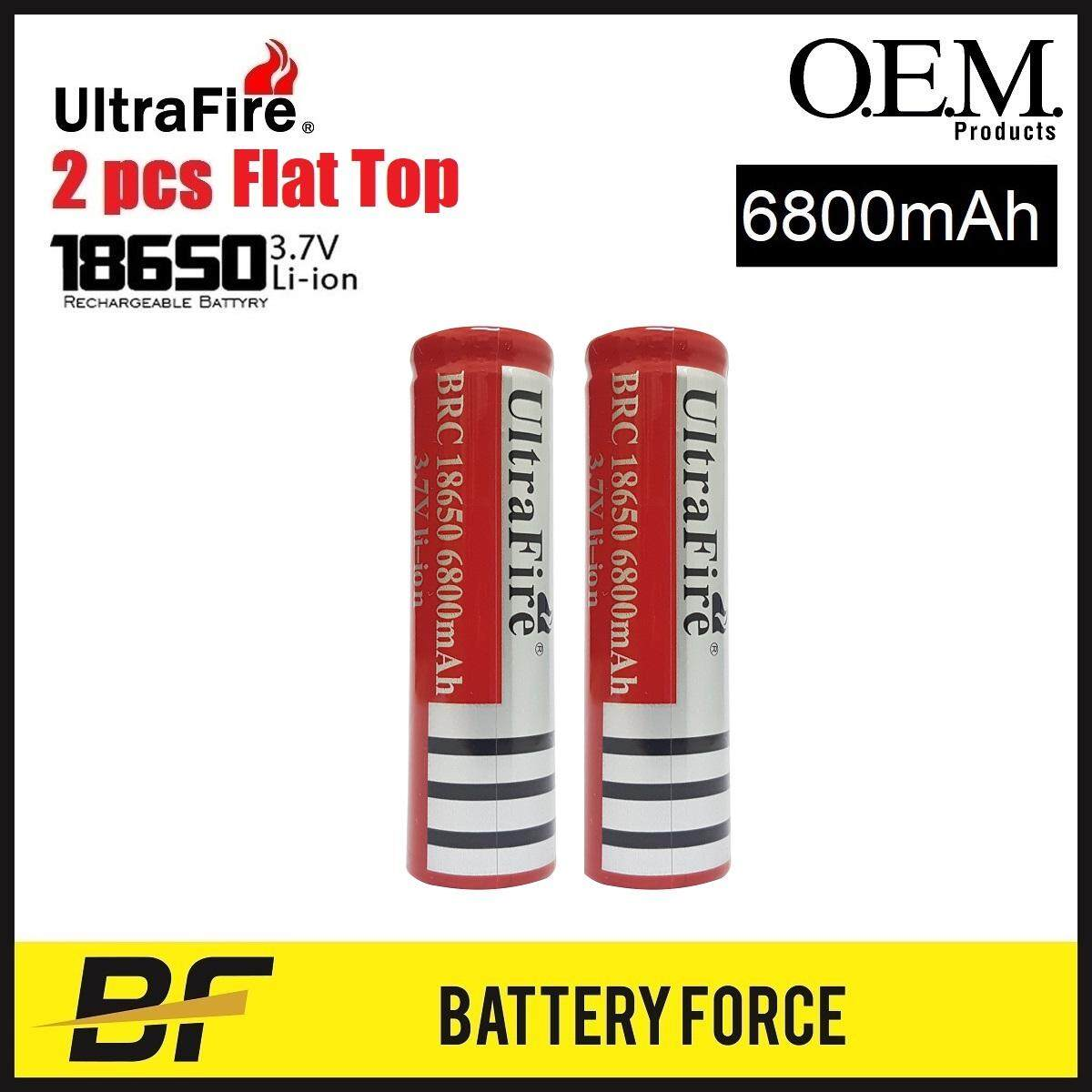 3.7v 18650 Ultrafire 6800mah Flat Top Vape Rechargeable Lithium Ion Battery Brc By Battery-Force.