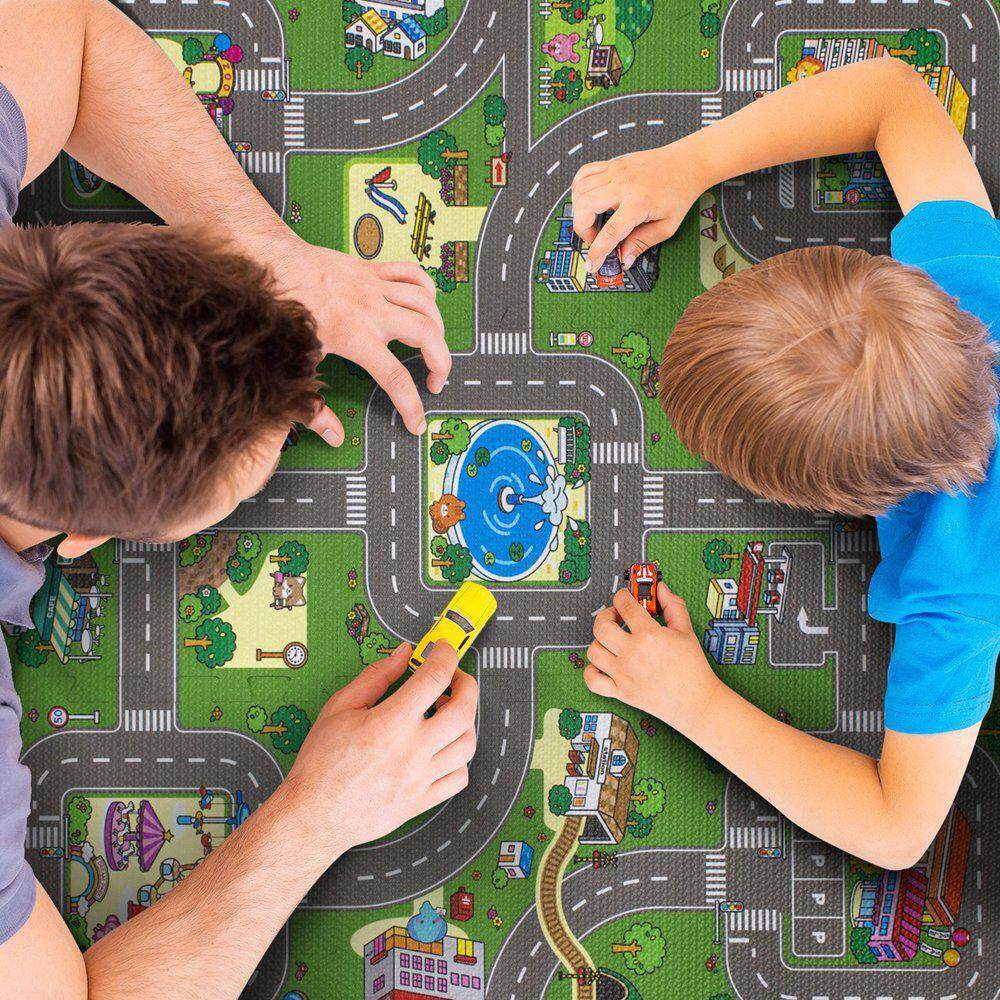 Tohoney Baby Kids Puzzle Words Color Crawling Mat Baby Gyms Playmats Single Side City Traffic Pattern Foldable By To-Honey.