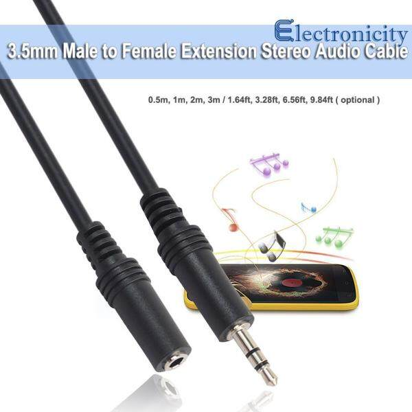 0.5m/1m/2m/3m 3.5mm Male to Female Extension Stereo Audio Cable Cord Singapore