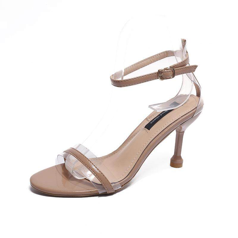 c36ce3b3e74b Open Toe Transparent Thin High Heel Women s Shoes Fashion Sandals Buckle Female  Shoes