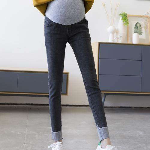 5e8acbc16dc Spring Pregnant Women Jeans Feet Pants Stretch Trousers Turned Feet Maternity  Dress Leggings ZYX11692