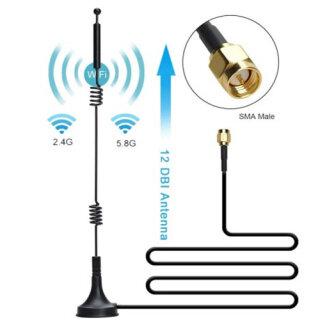 12dbi WIFI Antenna Ăng Ten Hai Cực Băng Tần 2.4G 5.8G SMA Nam Với Cơ Sở Từ Tính Cho Router Máy Ảnh Tăng Cường Tín Hiệu thumbnail