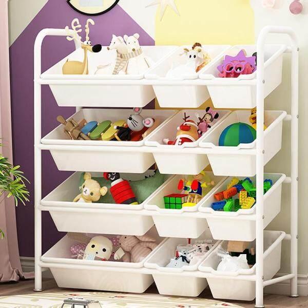 RuYiYu - Kids Toy Organizer and Storage Bins, 12-Bins in Fun Colors, Toy Storage Rack, Steel Pipe Frame