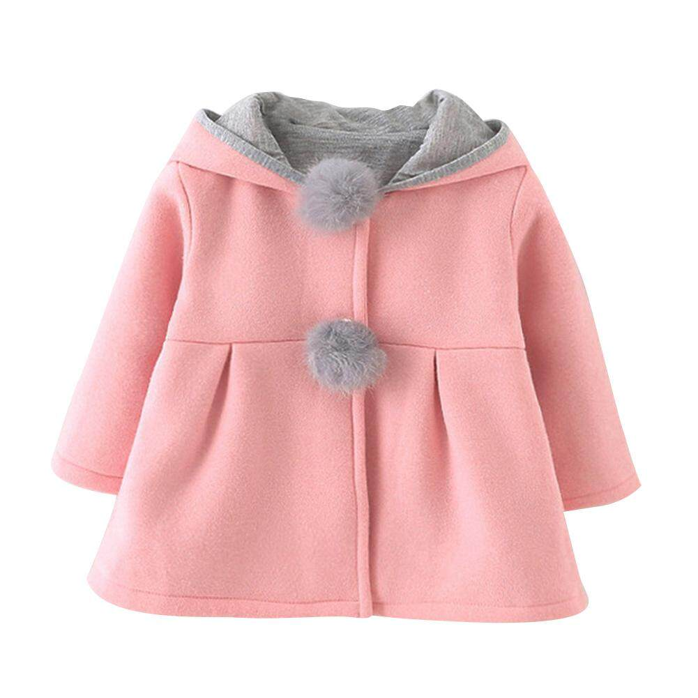 【limited Promotion】cherishone Cute Hooded Bunny Ears Kids Coat Baby Girl Warm Winter Cotton Jacket By Cherishone.