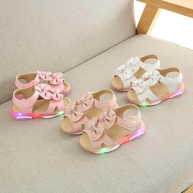 New Products Children Sandals Summer Girls Kids Shoe Bow-Knot Princess Fashion Led Shoes By Woowfunny.