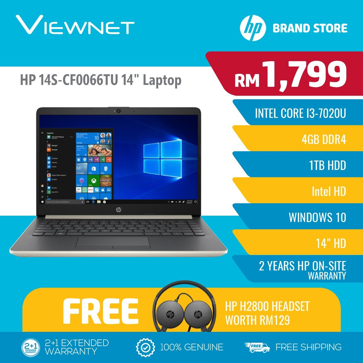 HP 14 Notebook Intel I3-7020U Laptop (14S-CF0066TU Gold / 14S-CF0067TU Silver) 4GB DDR4 RAM, 1TB HDD Storage, Intel HD Graphics 620, Windows 10 Home Malaysia