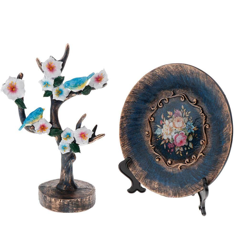 BolehDeals 2PCS Desktop Decor Figurines Wine Cabinet Desktop Decoration Tree+Plate