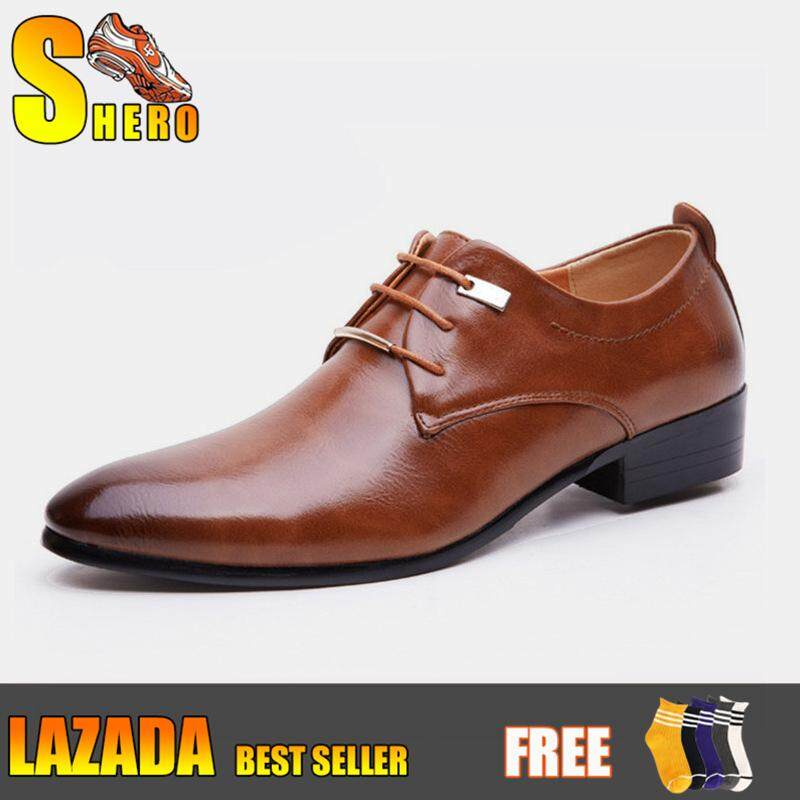 ae1836a01ede SHERO Men PU Leather Lace Up Cap-Toe Business Casual Shoes Black