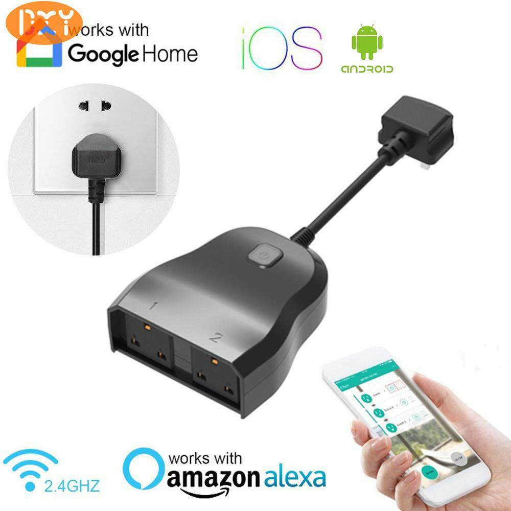 DXY-Wireless WIFI Share Control Smart Voice Control Socket 2-in-1 Courtyard Wall Mounted Waterproof Intelligent UK Plug For Amazon Google