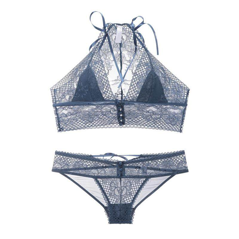 e3af7fed01ba Virmurry Brand new ultra-thin wire free transparent bra halter front  closure underwear set for