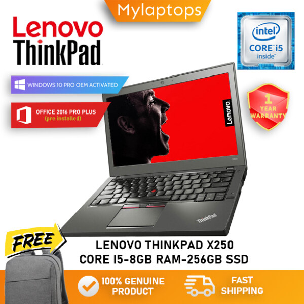 LENOVO THINKPAD X250 [CORE i5-5TH GEN / 8GB RAM / 256GB SSD / 12.5 HD DISPLAY] ULTRABOOK / WINDOWS 10 PRO / 1 YEAR WARRANTY / FREE BAGPACK Malaysia