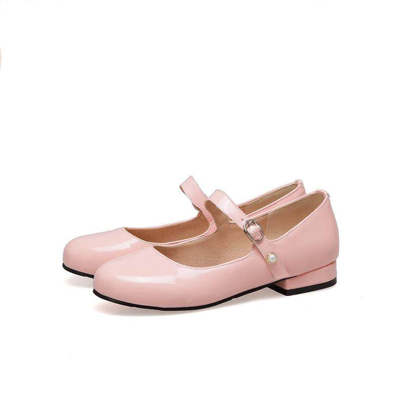 e7837bf6434c Mary Janes Buckle Strap Shoes Low Heel Jane Shoes Flat Ladies Square Toe  Flats Solid Patent