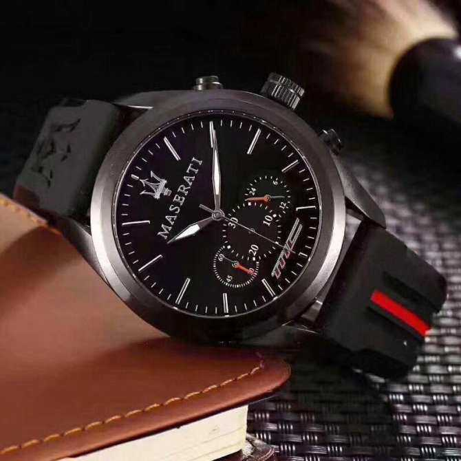 MASERATI watches, foreign trade explosions, fashion, three eyes, mens and womens steel belt watches, manufacturers, stock Malaysia