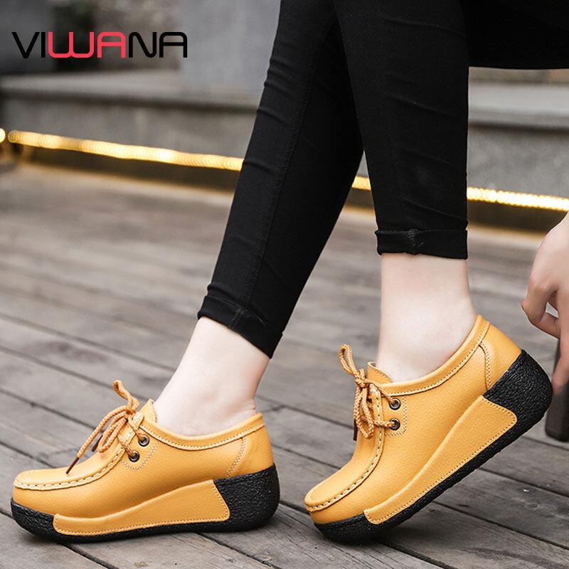 VIWANA Giày Đế Thuyền Cho Giày Nữ Da Thật Giày Sneaker Kiểu Dáng Chắc Chắn Đế Dày Giày Đế Giày Slip-On Phụ Nữ Giày Thường Ngày Phong Cách Hàn Quốc
