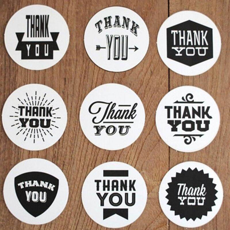 Round Paper Labels /'Thank You/' Moustache Vintage Kraft Gift Seal Craft