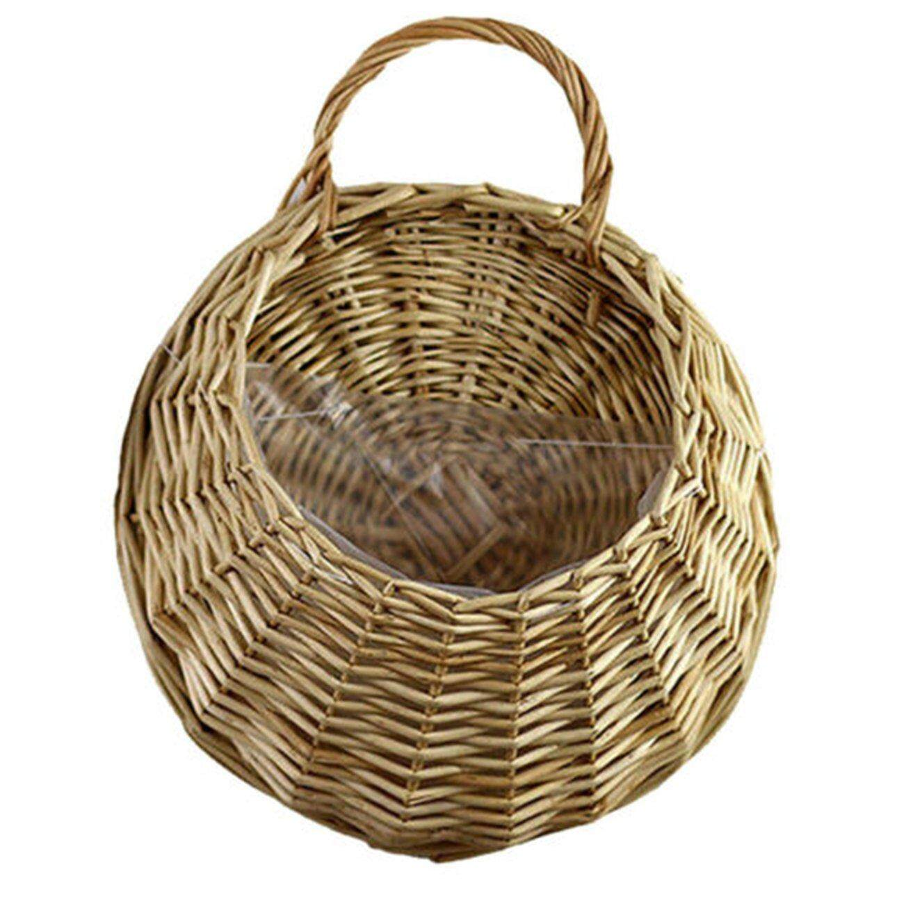 Hot Sales Nostalgic Vintage Wicker Rattan Flower Basket Wall Hanging Wall Decoration