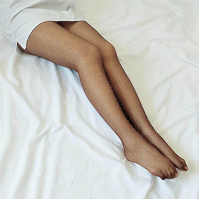 New Women Crystal Rhinestone Fishnet Net Mesh Socks Stockings Tights Pantyhose