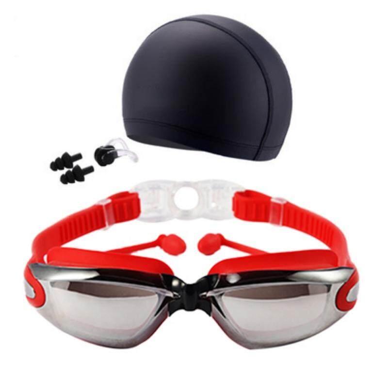 Unisex Swimming Goggles Swim Cap Ear Plugs Nose Clip Anti-Fog UV Protection