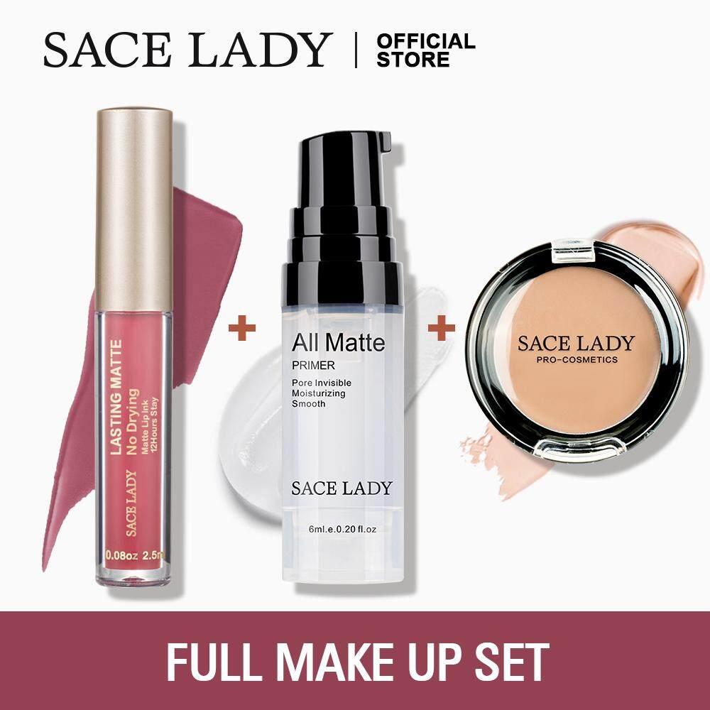 Sace Wanita Set Make untuk Bibir dan Wajah Pemulas Kosmetik + Lipstik + Concealer Kosmetik