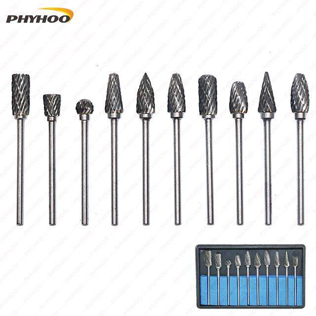 PHYHOO 10 Pieces Tungsten Carbide Rotary Burr Set with 2.35mm Shank Fit Dremel Tool Grinder Drill Woodworking Drilling Carving