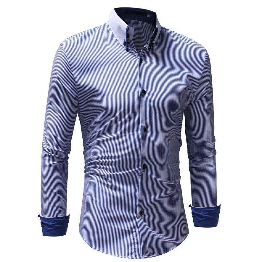 Awins Fashionable Long Sleeve Men Stripe Pattern Turn-Down Collar Business Shirts