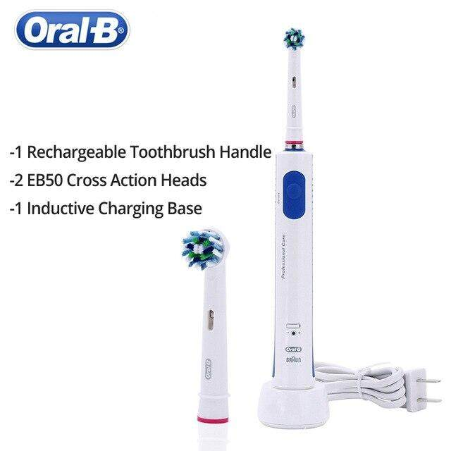 Oral B Electric Toothbrush Pro600 Plus 3D Clean 2 Brush Heads Corss Action Waterproof Inductive Charge Purple Blue Color SH Store