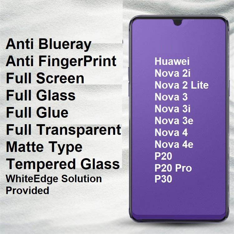 Huawei Nova 2i 3i 3 3E 4 4E 2 Lite P20 Pro P30 Matte Anti BlueRay Full  Tempered Glass