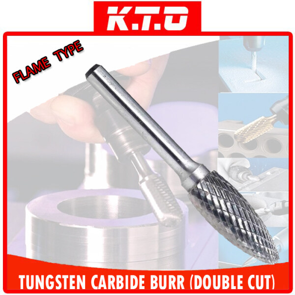 TUNGSTEN CARBIDE BURR FLAME SHAPE DOUBLE CUT ROTARY BURR FILE with 6MM SHANK