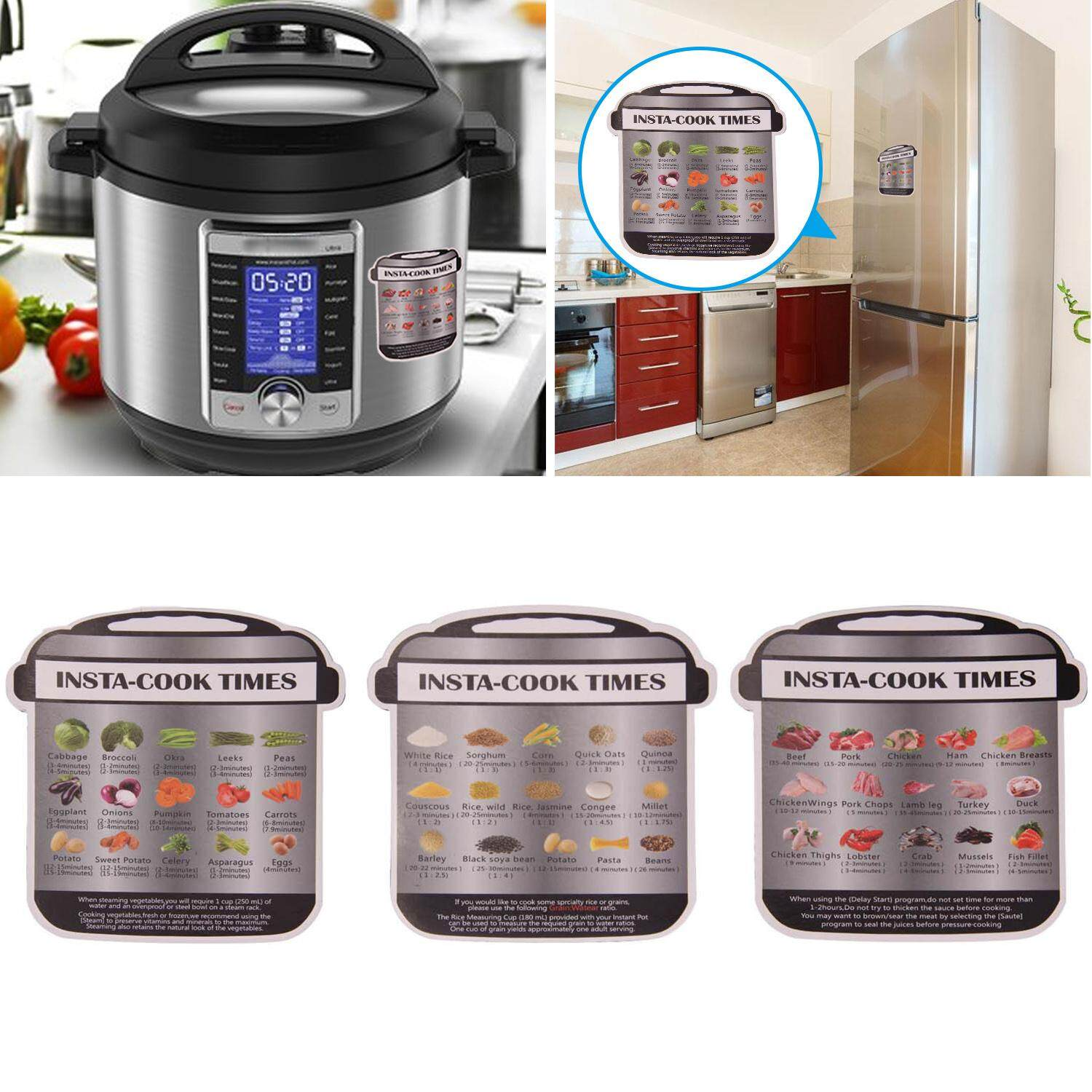 【free Shipping】vococal 3pcs Magnetic Cheat Sheets Compatible With Instant Pot Vegatables Grains Meat Cooking Times Kitchen Accessories By Vococal Shop.