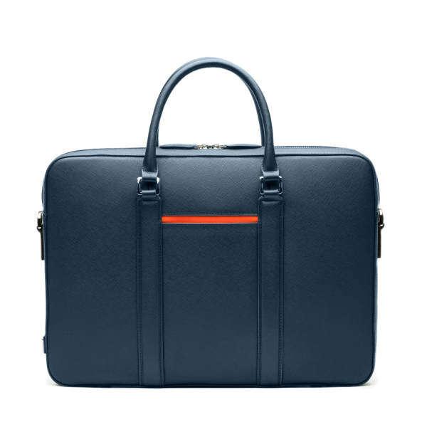 Maverick & Co. Manhattan Full Grain Saffiano Leather 15  Macbook Laptop Multi-Compartment Business Briefcase For Men