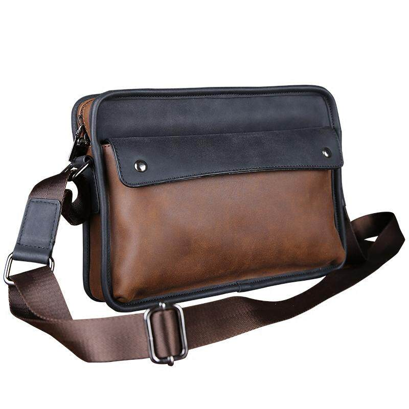2019-Men Crazy Horse Leather Shoulder Messenger Laptop Bag mens casual bag Vintage postman bag bag backpack.