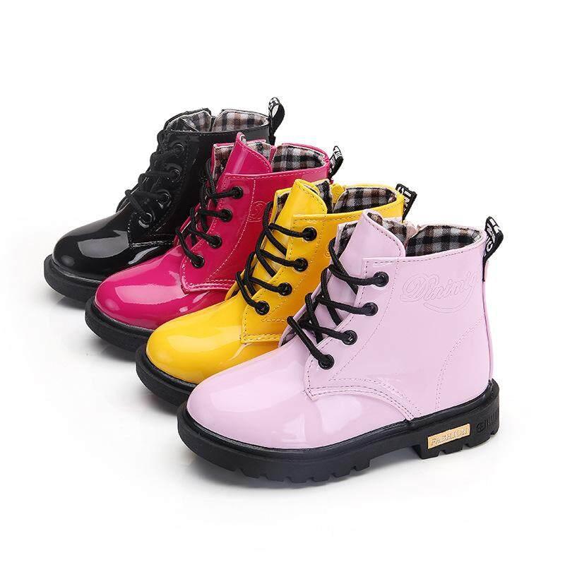 Giá bán GGX 1-12 Năm Giày Trẻ Em Ngắn Màu Trơn Bề Mặt Sáng Bé Gái Giày Bốt Martin