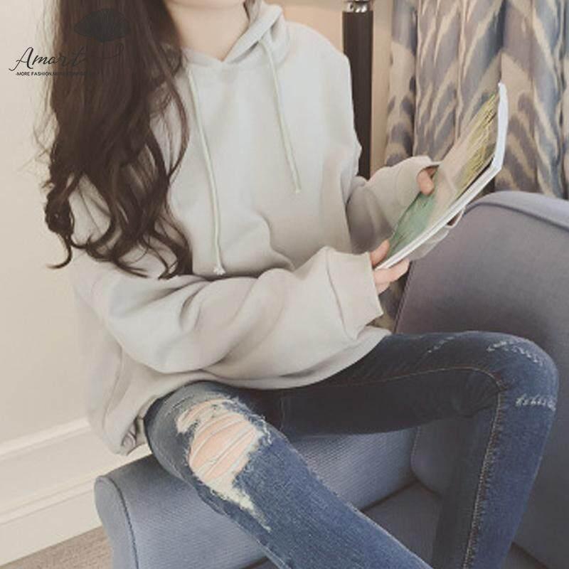 Amart Fashion Wanita Musim Gugur Hoodie Lengan Panjang Pullover Berkerudung Longgar Bordir Atasan Kasual