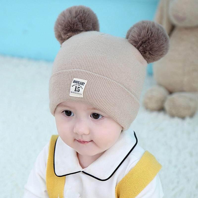 Bzy Lucu Bayi Hangat Rajutan Topi Dengan Rambut 2 Bola Untuk Anak-Anak Anak Laki-Laki Dan Perempuan By Beautyzy.