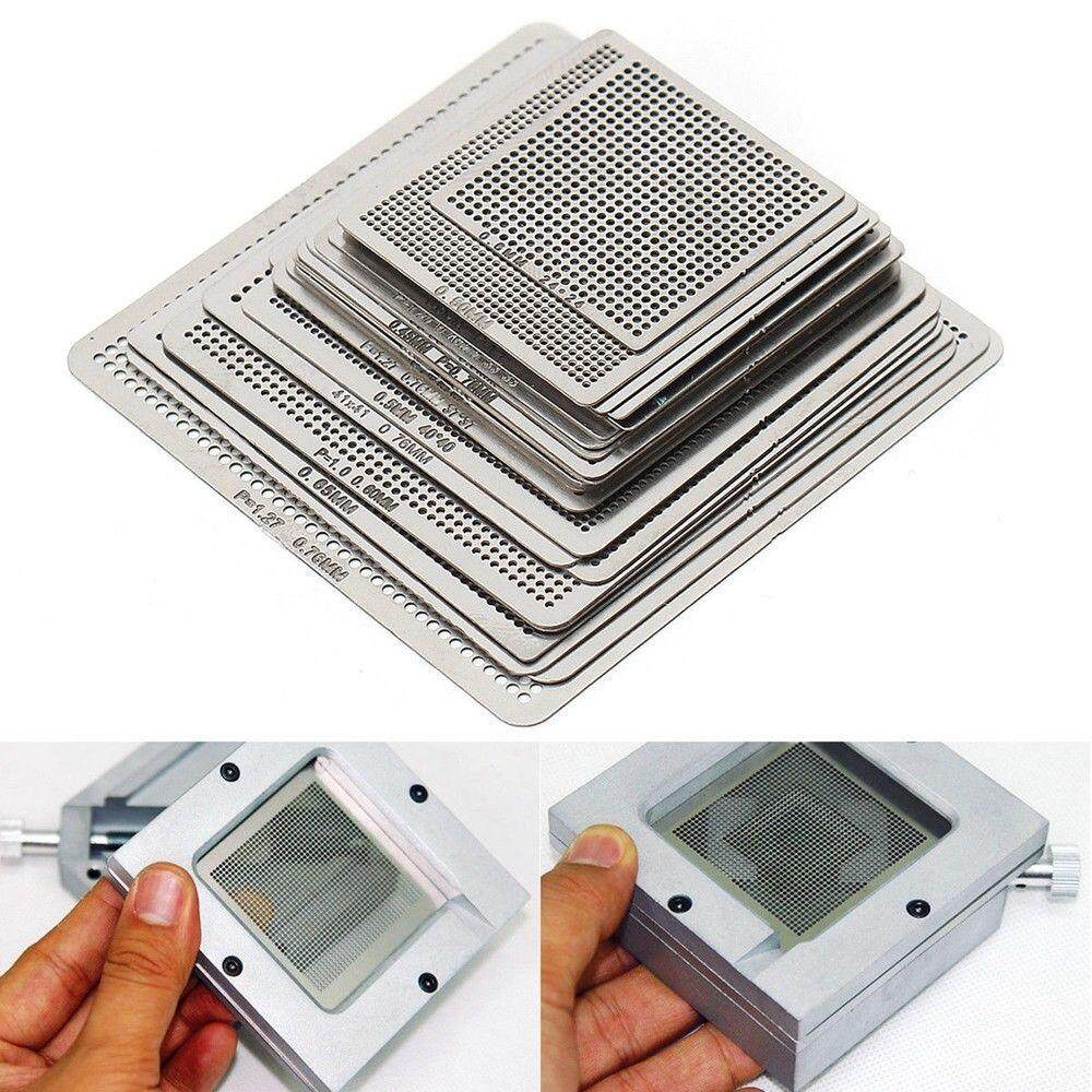 ❥Gracekarin Online 27Pcs BGA Reball Reballing Rework Net Universal Stencil Directly Heat Set Kit