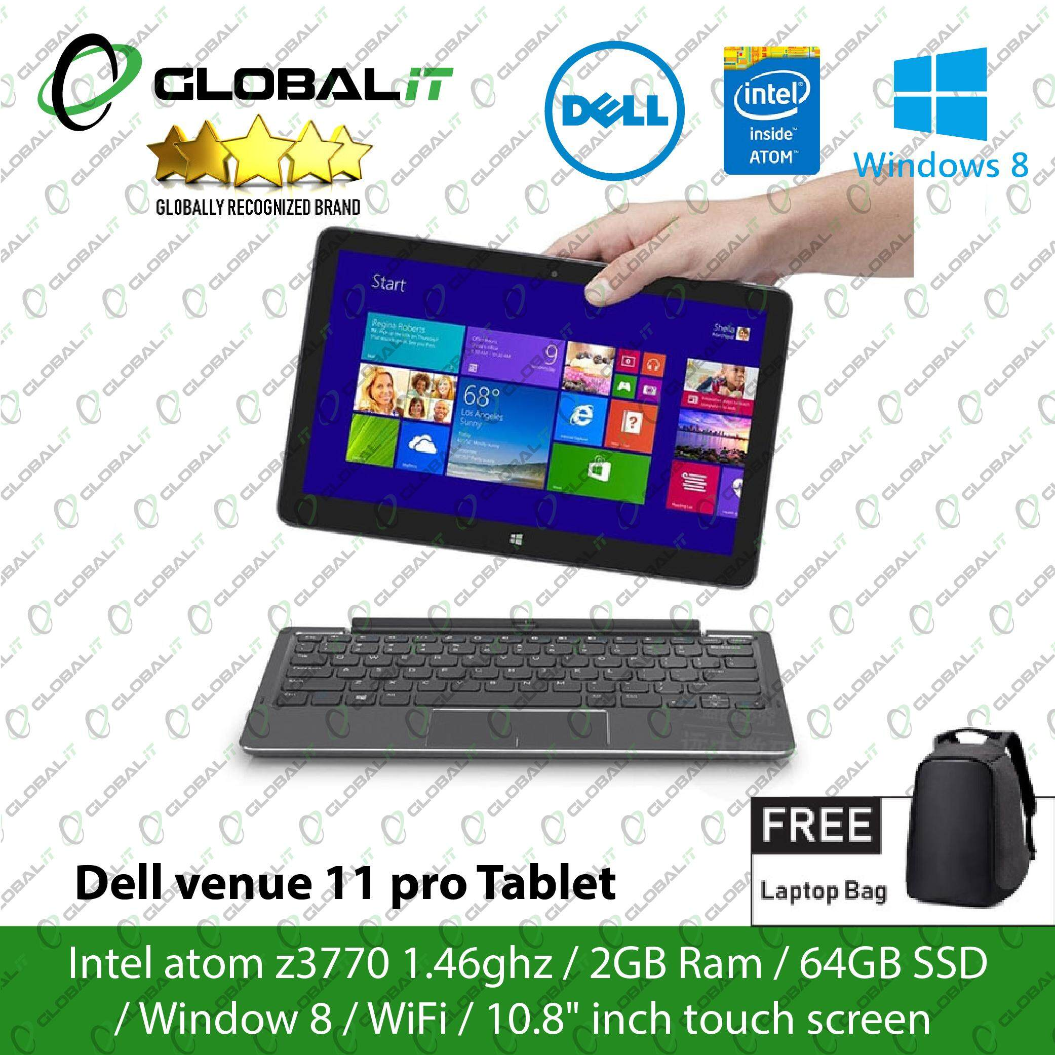 (Refurbished Tablet) Dell Venue 11 Pro Tablet / 10.8 inch LCD Touch Screen / Intel Atom Z3770 / 2GB DDR3 Ram / 64GB SSD / WiFi / Windows 8 Pro Malaysia