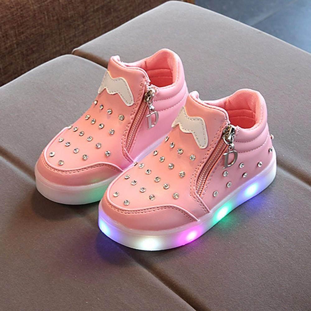 Giá bán CocolMax ChildrenKids Bé Gái Khóa Kéo Pha Lê LED Phát Sáng Dạ Quang SneakersShoes