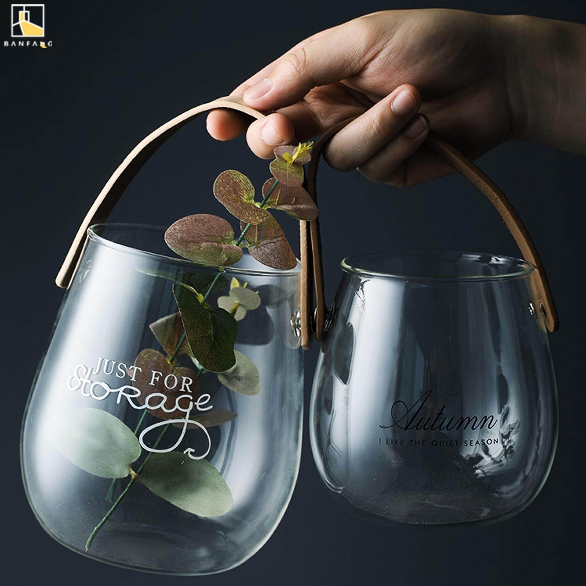 BANFANG Nordic glass vase with handle English letters hydroponic vase creative fruit snacks storage jar