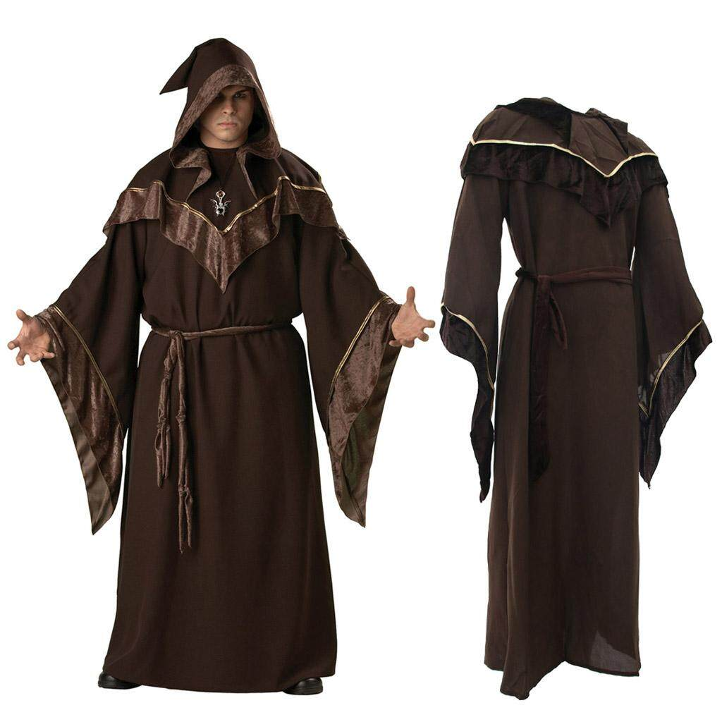 Fenteer Halloween Adults Wizard Robe Full Length Religious Godfather Cosplay Cloaks
