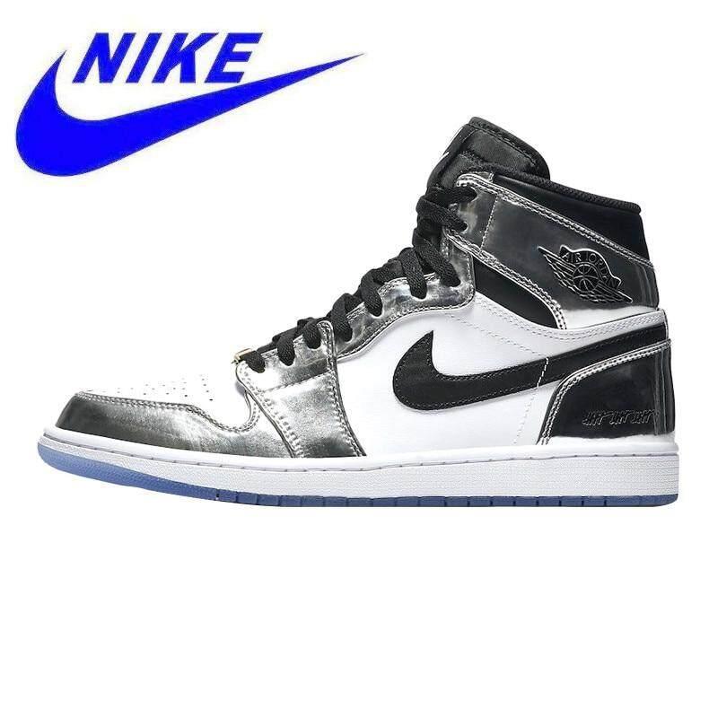 sale retailer e7301 b1bfa Nike Air Jordan 1 Retro High AJ1 Men s Walking Shoes ,White    Silver,Lightweight