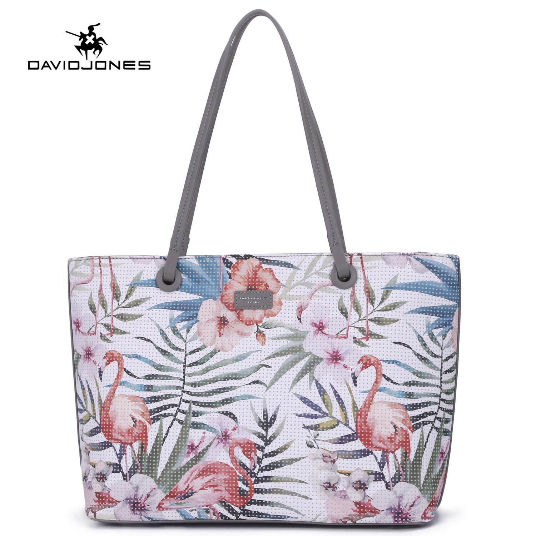 David Jones Paris women handbag pu leather female shoulder bag large flamingo lady tote bag
