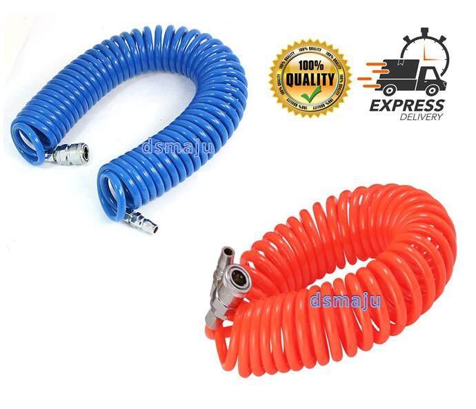 [Ready Stock] PU Recoil Hose Air Compressor Spring Tube Pipe Spring Air Hose 5 x 8mm