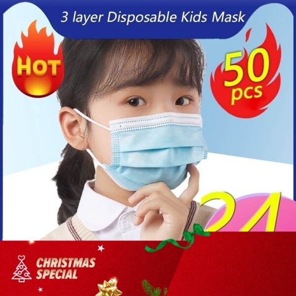 Kids 50Pcs/Box Disposable Face Mask Children 3-Ply Anti Dust Mouth Mask
