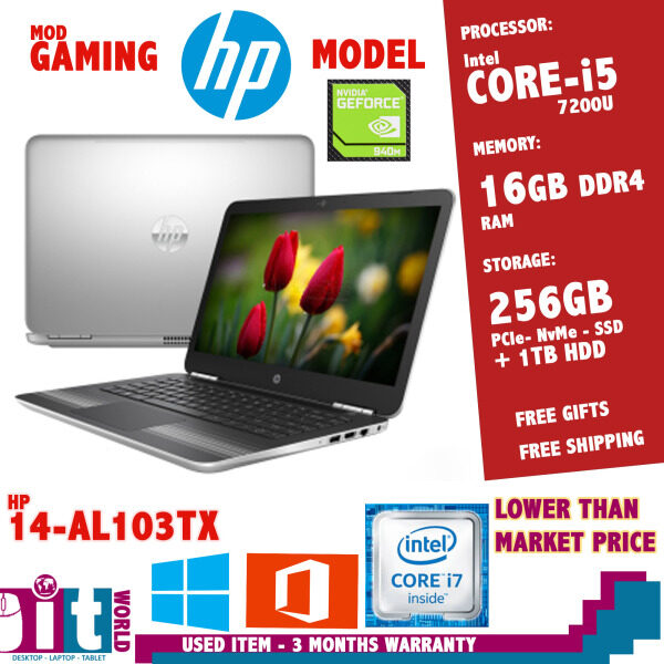HP GAMING LAPTOP - 14-AL103tx -7th Generation Core i5 - 16GB RAM - 512GB SSD - Win 10- Nvidia Graphics Malaysia